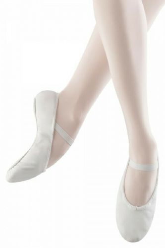 Bloch Arise Leather Ballet Shoes Full Sole White with Pre Sewn Elastics S0209